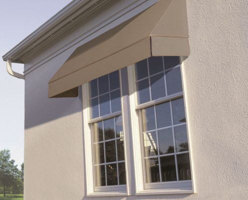Fixed brown canopy awnings | Ublinds