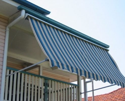 Blue and white stripe pivot arm awnings | Ublinds